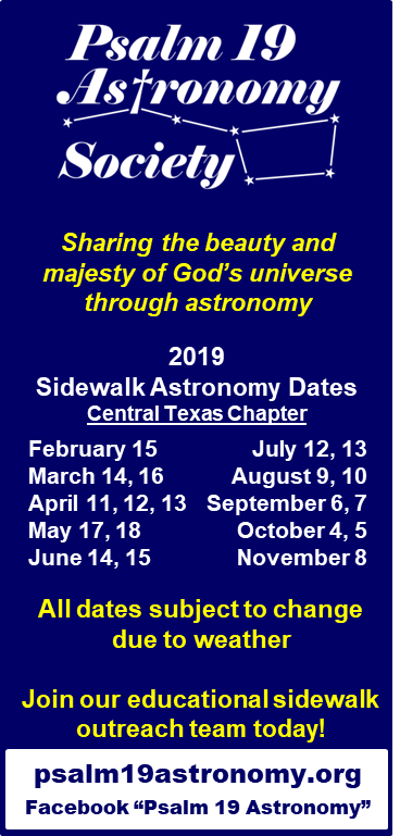 Psalm 19 Astronomy 2019 tentative schedule